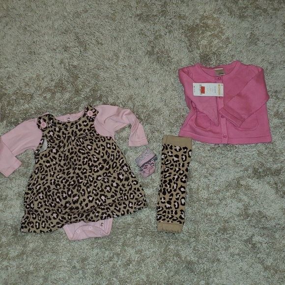 Gymboree Other - 6M Carter's leopard dress set, leg warmers, cardig